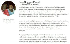 Wealthy Affiliate Review - Dave Testimonial