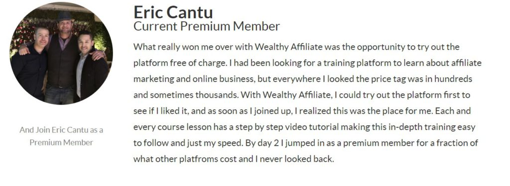 Wealthy Affiliate Review - Eric Testimonial