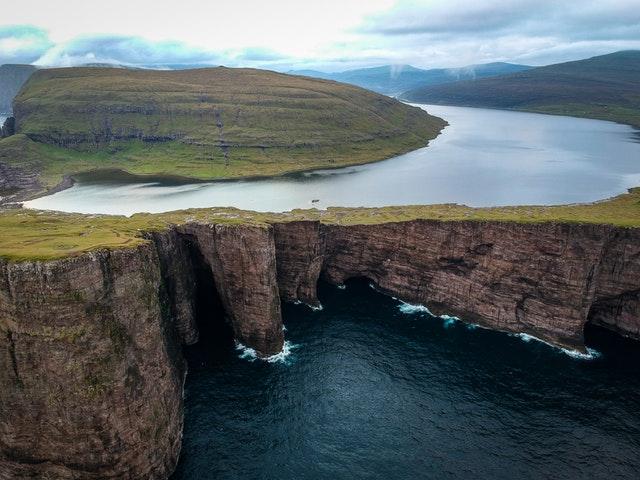 Lake Sørvágsvatn in Faroe Islands